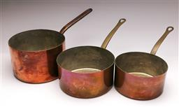 Sale 9131 - Lot 66 - Set of three graduating copper pots (Dia:22cm, 20cm and 18.5cm)