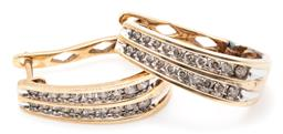 Sale 9149 - Lot 350 - A PAIR OF 9CT GOLD DIAMOND HOOP EARRINGS; 6.5mm wide tapered half hoops set with 2 rows of round brilliant cut diamonds totalling ap...