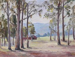 Sale 9191A - Lot 5029 - RICHARD HERZOG Bush Shack, Grampians oil on canvas 34 x 45 cm (frame: 71 x 79 x 3 cm) signed