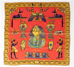 Sale 9250F - Lot 31 - An Hermes Egyptian themed scarf, 66cm x 66cm.