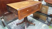 Sale 8375 - Lot 1027 - Victorian Mahogany Inlaid and Cross Banded Drop-Side Table on pedestal base