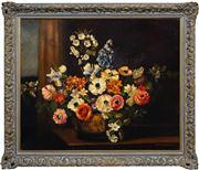 Sale 8420 - Lot 569 - Albert Sherman (1882 - 1971) - Still Life Floral 54 x 65cm