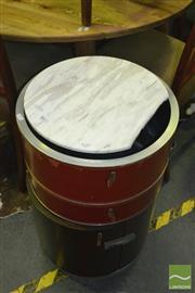 Sale 8431 - Lot 1090 - Modern Cylinder Bedside Cabinet w Swing Out Drawers (marble broken)