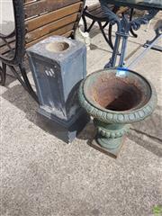 Sale 8601 - Lot 1211 - Cast Iron Urn Form Planter on Plinth
