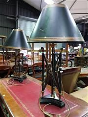 Sale 8653 - Lot 1069 - Two Similar Empire Style Table Lamps, in style of Roman braziers, alternatively with lion or horse terminals, the shades decorated t...