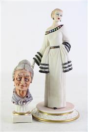 Sale 8852 - Lot 48 - Italian Lady Figures (H:23cm & 13cm)