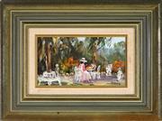 Sale 9019 - Lot 2028 - Dermont Hellier (1916 - 2009) - Jeannie in the Garden 11.5 x 22.5 cm (frame: 30 x 40 x 5 cm)