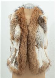 Sale 9066H - Lot 80 - A Cindy Collections patchwork rabbit fur vest, size M 38