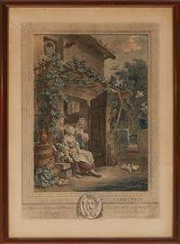 Sale 9080H - Lot 92 - A hand coloured French engraving after Da Calint de Maurice Trudaine de Montigny, engraved  Humble et tres obei Bant Seraiterur Sha...