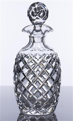 Sale 9245R - Lot 7 - A quality hand cut lead crystal double lipped decanter, mid century, Ht: 26cm.