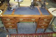 Sale 8352 - Lot 1043 - Late Victorian Figured Walnut Desk, with leather top & seven drawers, on tapering legs