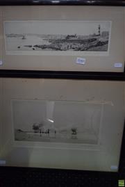Sale 8578T - Lot 2040 - John Brangywn (2 works) - Plymouth Hoe; Ships at Sail 22 x 46cm; 36 x 49cm (frame sizes)