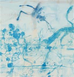Sale 9193A - Lot 5092 - JOHN OLSEN (1928 - ) - Morning at the Lily Pond,1997 63 x 61 cm (frame: 94 x 85 x 5cm)