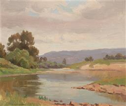 Sale 9212A - Lot 5064 - ERIK LANGKER (1898 - 1982) River Reflections oil on board 24.5 x 29.5 cm (frame: 35 x 40 x 3 cm) signed lower left