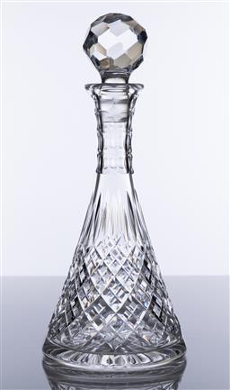 Sale 9245R - Lot 8 - A quality Stuart lead crystal decanter, the graduated double cut diamond base rising to a slash and thumb cut neck, Ht: 31cm