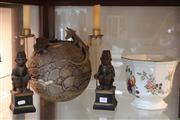 Sale 8304 - Lot 90 - Australian Themed Pottery Vase, Monkey Candlesticks & an English Jardiniere