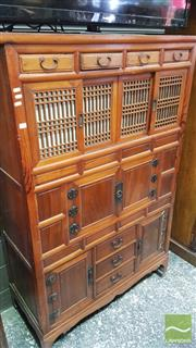 Sale 8375 - Lot 1025 - Japanese Elm Tansu Chest, of three compartments