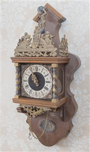 Sale 8375A - Lot 113 - A timber Continental wall clock with armorial, H 60cm