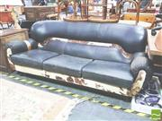 Sale 8412 - Lot 1031 - Cow Hide & Black Leather Three Seater Sofa