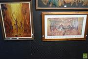 Sale 8530 - Lot 2050 - H Moegel, Warriors, Acrylic on Board, SLL together with a Framed Print of Kakadu National Park (2)