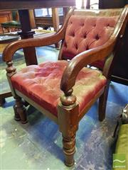 Sale 8539 - Lot 1076 - 19th century Cedar Armchair, with buttoned red velvet upholstery & turned legs