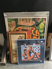 Sale 8759 - Lot 2058 - Assortment of Artworks incl. Paintings by E J Owen, Decorative Vintage Prints and a Woodblock -