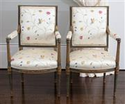 Sale 8782A - Lot 25 - A pair of Antique French chairs with painted green and parcel gilt frame with silk upholstery embroidered with butterflies in flower...
