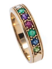 Sale 8937 - Lot 344 - A 9CT GOLD DEAREST RING; set across the top with round cut diamond, emerald, amethyst, ruby, sapphire and tourmaline, size O, wt. 3....