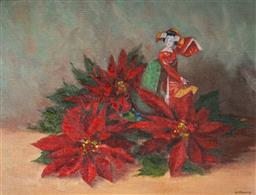 Sale 9047A - Lot 5050 - Henry Pittaway (1904 - 1982) - Japanese Doll & Red Poinsettias 33.5 x 44.5 cm (frame: 45 x 55 x 4 cm)