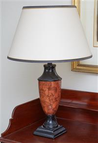 Sale 9080H - Lot 70 - A Burr walnut effect metal table lamp of baluster form with cream shade, Total Height approx. 72cm