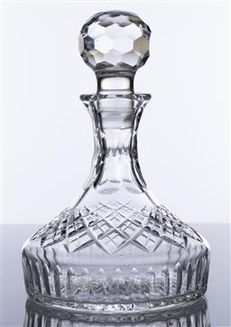 Sale 9245R - Lot 9 - A quality Stuart lead crystal ships decanter, swirled diamond and thumb cut. Ht: 26cm
