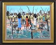 Sale 8363 - Lot 542 - Dick Roughsey (1924 - 1985) - Wood Gatherers, Mornington Island, 1972 35.5 x 44.5cm