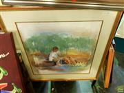 Sale 8622 - Lot 2097 - Leone Henriksson - Boy with Dogs 52 x 51cm