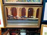 Sale 8627 - Lot 2005 - Denis Gray - Stationed Rickshaws, oil on board, 51 x 87.5, signed lower right