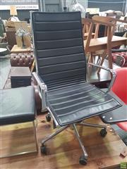 Sale 8648C - Lot 1045 - Leather & Chrome Office Chair & Similar Stool (2)