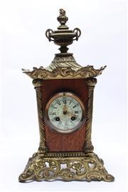 Sale 8710 - Lot 31 - Silky Oak and Brass Mantle Clock