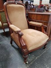 Sale 8814 - Lot 1004 - Victorian Carved Mahogany Gentlemans Armchair, upholstered in brown velvet & on turned reeded legs