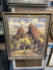Sale 8895 - Lot 2030 - A W Morton - Belougery, Split Rock West, 1977, oil on canvas, 84 x 54c,, signed and dated lower right
