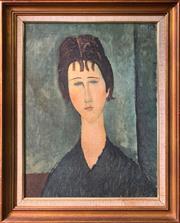 Sale 9024 - Lot 2015 - A good Vintage Print After Modigliani (Bedford Framing label verso), frame: 85 x 60cm. -
