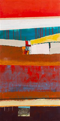 Sale 9191H - Lot 79 - GWYN TOSI Abstract acrylic and mixed media on canvas 122 x 61 cm unsigned