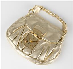 Sale 9250F - Lot 78 - A Miu Miu gold metallic shoulder bag with plaited strap, Width 25cm.