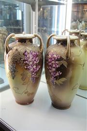 Sale 8327 - Lot 16 - Nippon Pair of Tubelined Floral Vases