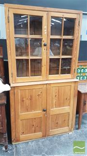 Sale 8404 - Lot 1003 - Timber Bookcase with Two Glass Panel Doors