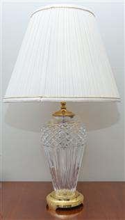 Sale 8562A - Lot 17 - A cut glass and gilt metal table lamp with cream pleated shade, total H 73cm