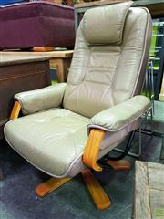 Sale 8562 - Lot 1084 - Beige Leather Upholstered Recliner