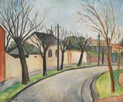 Sale 8847 - Lot 543 - Alan Sumner (1911 - 1994) - A Melbourne Street Scene,1940 39.5 x 48cm
