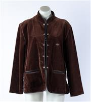 Sale 9003F - Lot 39 - A brown velvet jacket by Sonia Rykiel, Paris with diamante logo and popper buttons, size M