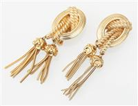 Sale 9080H - Lot 83 - A pair of vintage Christian Dior clip on Earrings with frame and rope twist tassel design, Total length 7cm
