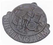 Sale 9080W - Lot 70 - A C19th Birmingham Insurance lead fire plaque.32 x 27cm