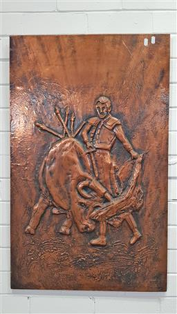 Sale 9157 - Lot 1029 - Vintage copper wall art with bull fighter (h:91 x w:59cm)
